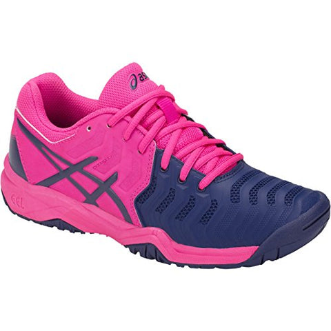 Asics Kids Girl'S Gel-Resolution 7 Gs Tennis (Little Kid/Big Kid) Pink Glo/Blue Print 1 M Us Little Kid