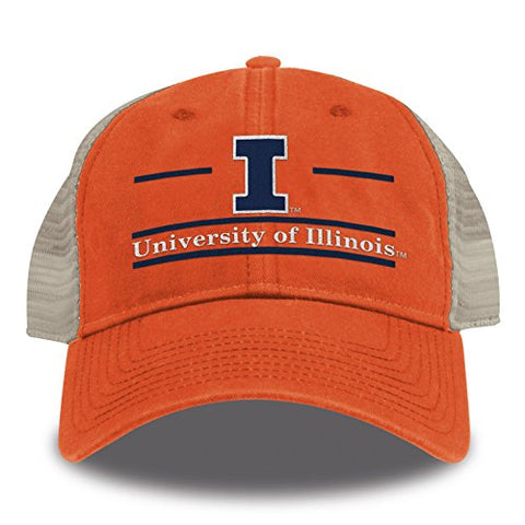 The Game Ncaa Illinois Illini Split Bar Design Trucker Mesh Hat, Orange, Adjustable