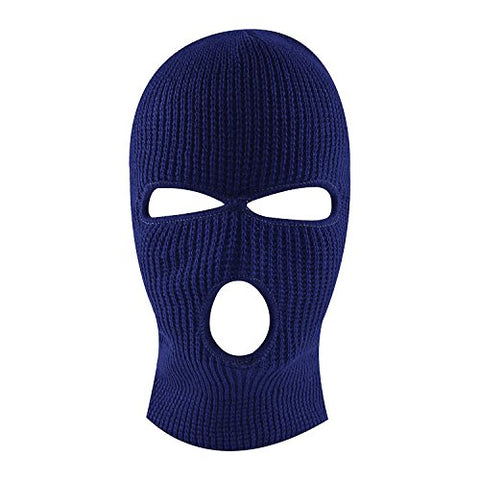 Knit Sew Acrylic Outdoor Full Face Cover Thermal Ski Mask By Super Z Outlet, Navy Blue, One Size Fits Most