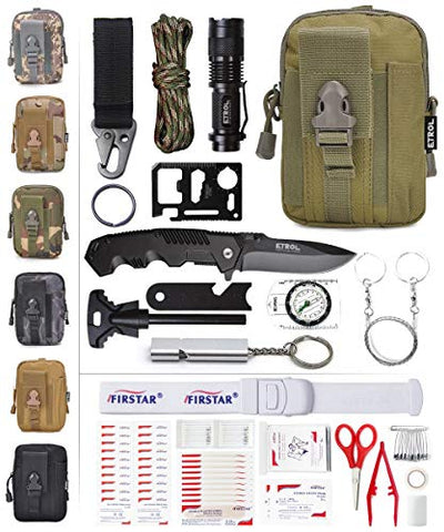 Etrol Emergency Survival Kit First Aid Kit Tactical Molle Pouch, Upgraded 90-In-1 Outdoor Emergency Survival Kit Gear For Camping Boat Hunting Hiking Home Car Earthquake (Army Green)