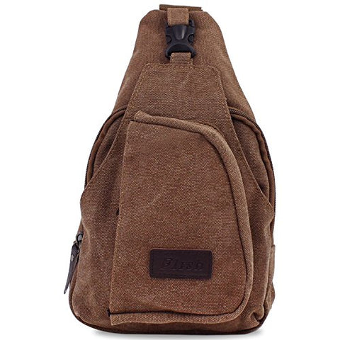 Aike Men Canvas Shoulder Casual Bag Sling Chest Bag Traveling Bag (Coffee, Large)
