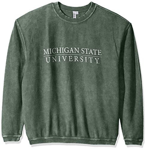 Chicka-D Ncaa Officially Licensed Michigan State University Ladies Corded Crew Sweatshirt/Oversized Sweater- Msu Spartans Women'S Apparel