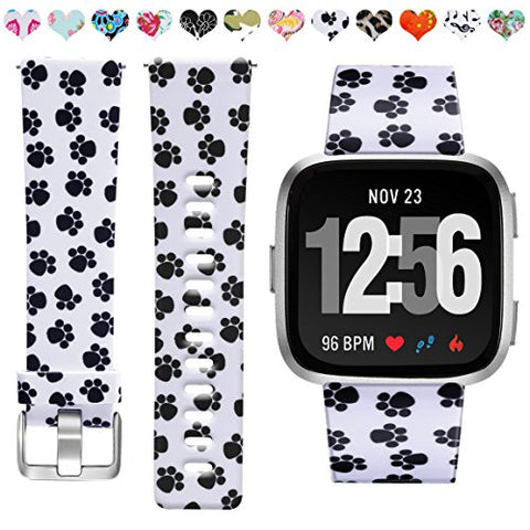 Maledan Compatible With Fitbit Versa Bands, Paw Print, Small