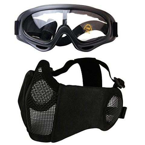Outgeek Airsoft Half Face Mask Steel Mesh And Goggles Set (Black-Type B)