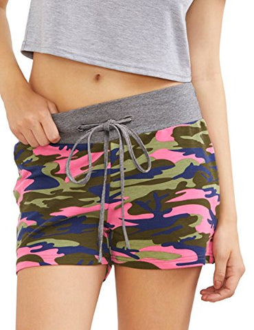 Sweatyrocks Camouflage Workout Yoga Shorts Pants Hot Shorts For Women Pink S