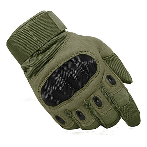 Tacvasen Hard Knuckle Tactical Motorcycle Gloves Motorbike Atv Riding Military Army Combat Full Finger Gloves,Army Green-1,Medium