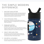 Simple Modern 10Oz Summit Kids Water Bottles With Straw Lid - Dishwasher Safe Vacuum Insulated Tumbler Double Wall Travel Mug 18/8 Stainless Steel Flask - Pattern: Astronauts