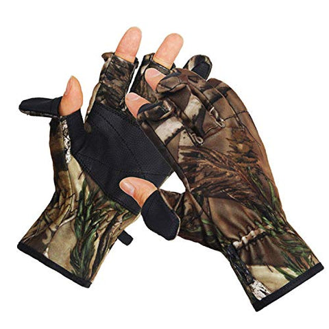 Eamber Camouflage Hunting Gloves Full Finger/Fingerless Gloves Pro Anti-Slip Camo Realtree Glove Archery Accessories Hunting Outdoors (M) (L)
