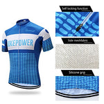 Coconut New Design Men'S Summer Short Sleeves Bike Jersey Cycling Clothing Bib Shorts With 3D Padded (Small, Blue)