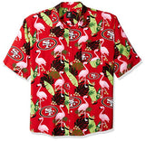 Nfl San Francisco 49Ers Mens Floral Tropical Button Up Shirtfloral Tropical Button Up Shirt, Team Color, Xx-Large