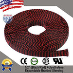 100 Ft 1/2  13Mm Black Red Expandable Wire Cable Braided Sleeving Sheathing Loom Tubing Us