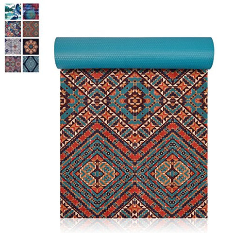 Premium Print 6mm Lightweight Anti-Tear All-Purpose Floor Pilates Mat,with Carrying Strap for Yoga Class and Outdoor Non Slip Exercise /& Fitness Mat Trideer Yoga Mat