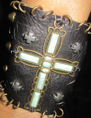 Southwest Cross and Studs Black Bohemian Leather Bracelet