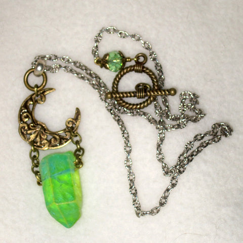 Crescent Moon and Kryptonite Green Crystal Necklace