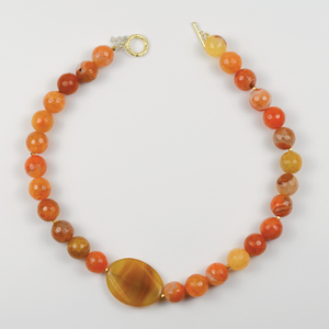 Citrus and Mustard Agate Necklace