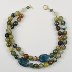 Forest Agate and Apatite Necklace