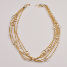 Load image into Gallery viewer, Henrietta 5 Strand Champagne Crystal Necklace