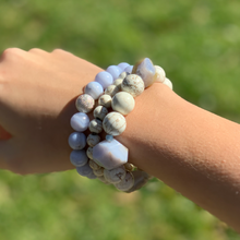 Load image into Gallery viewer, Howlite & Lace Agate Bracelet Set