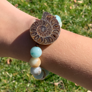 Flower Amazonite and Nautilus Shell Bracelet
