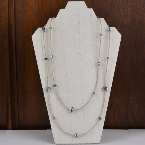 Henrietta Blue Crystal on Silver Necklace