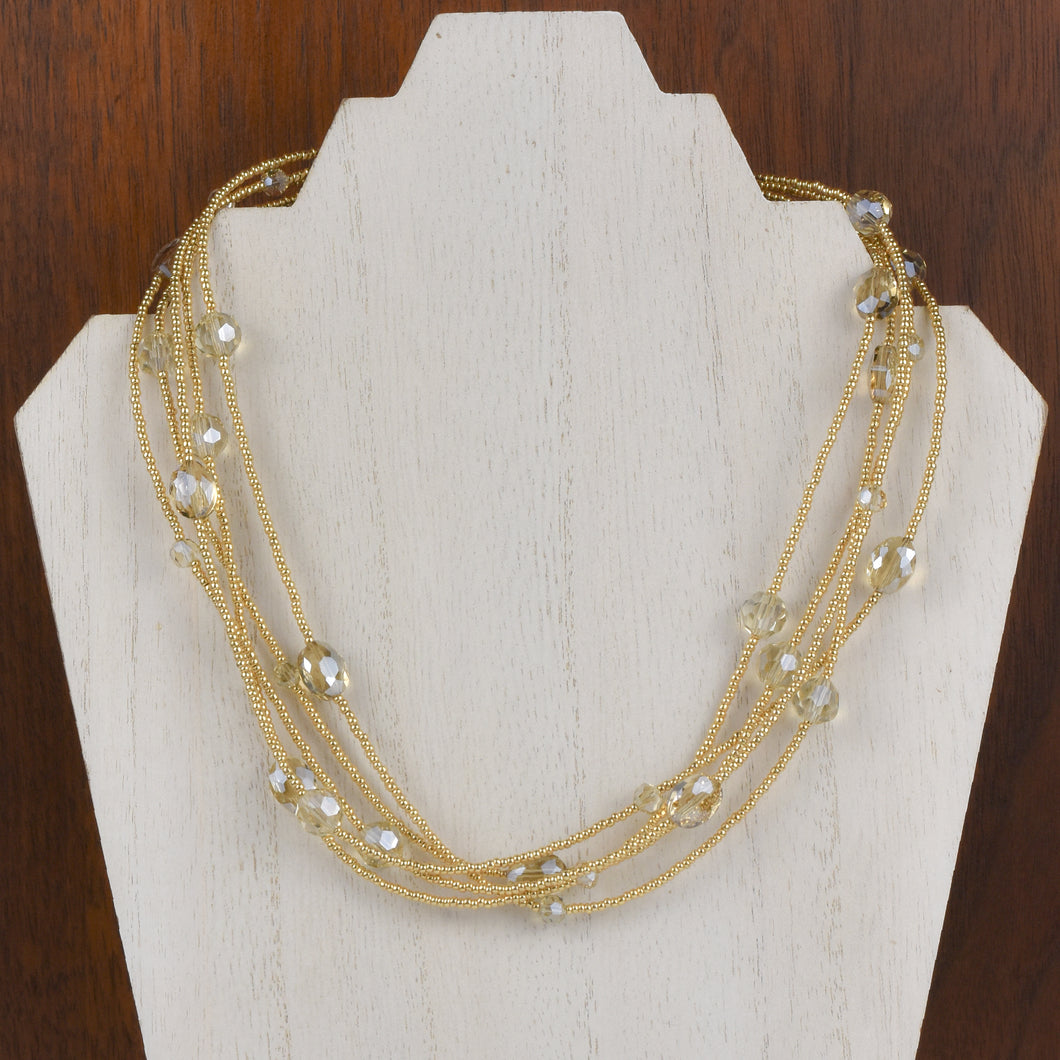 Henrietta 5 Strand Champagne Crystal Necklace