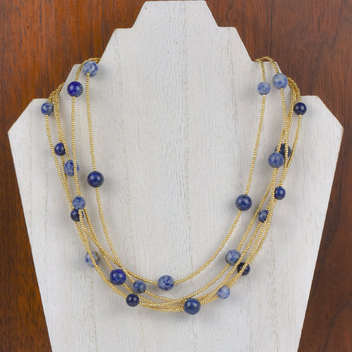 Henrietta 5 Strand Lapis Necklace