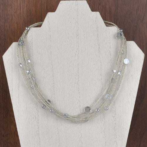 Henrietta 5 Strand Blue Crystal Necklace