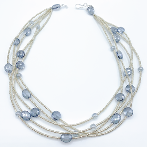 Henrietta 5 Strand Blue Crystal on Silver Necklace