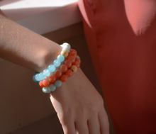 Load image into Gallery viewer, Coral, Blue Jade & Amazonite Bracelet Set