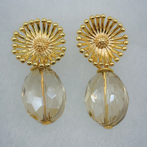 Gold Plated Flower and Crystal Earrings
