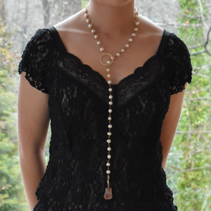 Pearl Lariat with Interchangeable Pendants