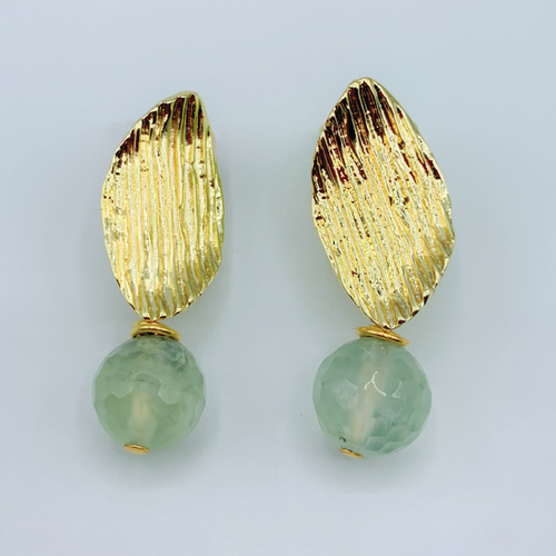 Gold Etched Leaf and Tourmaline Earrings