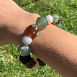 Forest Agate and Pearl Bracelet