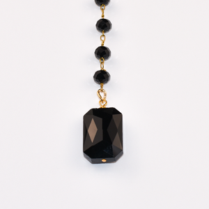 Black Crystal Lariat Necklace