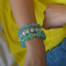 Load image into Gallery viewer, Amazonite and Pearl Bracelet