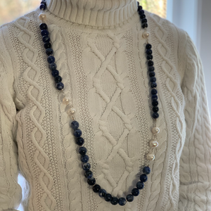 Long Navy Sodalite and Pearl Necklace