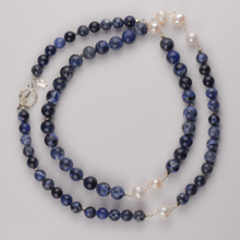 Load image into Gallery viewer, Long Navy Sodalite and Pearl Necklace