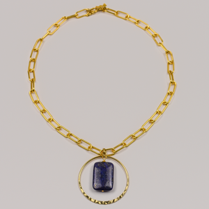 Gold Paperclip Chain and Lapis Necklace