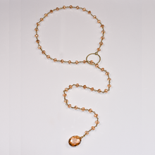 Load image into Gallery viewer, Peach Crystal Lariat Necklace