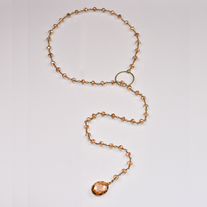 Peach Crystal Lariat Necklace