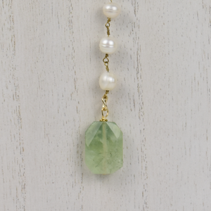 Pearl & Tourmaline Lariat Necklace