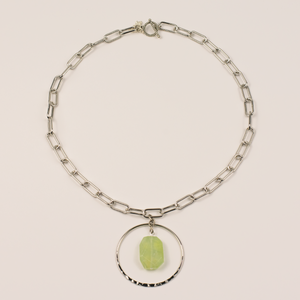Silver Paperclip Necklace with Tourmaline