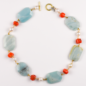Amazonite, Coral and Pearl Necklace