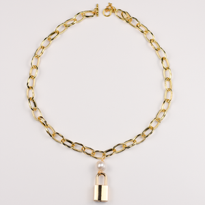 Lock Chain Necklace with Pearl