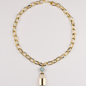 Lock Chain Necklace with Amazonite