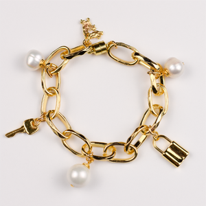 Lock & Key Chain Bracelet with Pearl