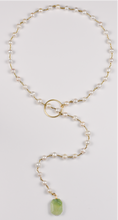 Load image into Gallery viewer, Pearl & Tourmaline Lariat Necklace