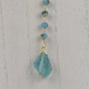 Teal Crystal & Sea Glass Lariat Necklace