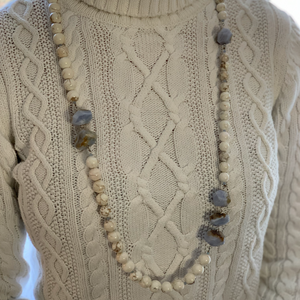 Long White Howlite and Blue Lace Agate Necklace