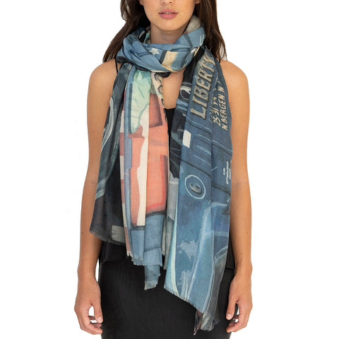 Midtown Street Art Wool Silk Scarf